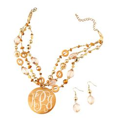 Personalized Golden Necklace Set by shopperssky on Etsy, $23.99