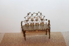Vintage 1950's Tin Can Artist Made Setee Couch OAK Truly Exquisite Work of Art #Handmade