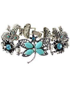 Dragonfly Diamante Silver Bracelet