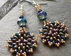 Earrings Mosaic beading pattern | Etsy Beaded Earrings Patterns, Seed Bead Earrings, Jewelry Patterns, Diy Earrings, Beading Patterns, Seed Beads, Bead Jewellery, Seed Bead Jewelry, Beaded Jewelry
