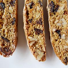 Biscotti flavored with anise and orange zest and full of figs and walnuts. Very festive and gift-worthy.