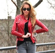 How to wear a red leather jacket.