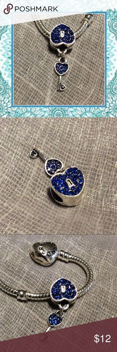🌺 New royal dark blue heart lock & key charm bead Unique Styles Very cool dark royal blue sparkles lock and key heart shape DIY for bracelet or necklace European fit wide hole. Just like Pandora, no-name brand. NWOT Jewelry Bracelets