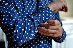 Men's fashion formal shirt blue pokadot
