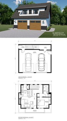 The Modern Farmhouse plan is a garage stu. - mypin - The Modern Farmhouse plan is a garage studio/laneway home wi - Above Garage Apartment, Garage Apartment Plans, Garage Apartments, Garage Guest House, Garage Loft, Garage Studio, Tiny House Cabin, Small House Plans, House Floor Plans