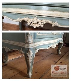 Details of a Chest, rococo style. Duck Egg Blue mixed with Original. Details in Original. Clear and Dark wax.