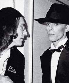 john lennon & david bowie. grammys, 1975