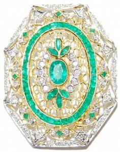 Natural Gemstone Diamond Emerald Brooch/Pin 18K Yellow Gold [I_030] BKGjewelry http://www.amazon.com/dp/B00CHRAL7G/ref=cm_sw_r_pi_dp_1LUrwb0DG427E