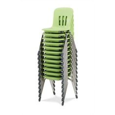 "Virco Metaphor 12.5"" Plastic Classroom Chair (Set of 5) Foot Type: Steel Glides, Seat Color: Forest Green, Frame Finish: Silver Mist"