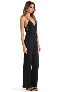 Line & Dot Strappy Jumpsuit in Charcoal