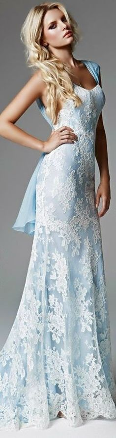 Blumarine 2013 Bridal Collection I really want something like this for rehearsal since Jeff said I can't have a blue wedding dress lol Blue Wedding Dresses, Blue Dresses, Prom Dresses, Formal Dresses, Light Blue Wedding Dress, Dresses 2014, Dress Prom, Dress Wedding, Bridesmaid Dresses