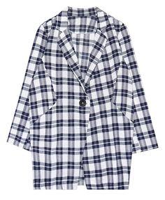 BF Style Plaid Three-quarter Sleeves Coat