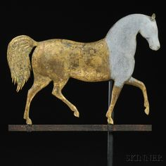 "Estimate $ 15,000-25,000 unsold J. Howard Gilt Cast Zinc and Molded Copper ""Index"" Horse Weathervane, J. Howard & Co., West Bridgewater, Massachusetts, c. 1860, cast zinc head and frontal portion of the body with molded sheet copper mid- and hind sections, applied copper ears and corrugated tail, mounted on an iron strap base fastened with copper clips, weathered gilt and verdigris surface, with Lucite stand (minor imperfections), overall ht. 23, lg. 25 in"