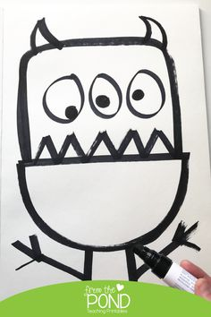 Funny Monster Directed Drawing | From the Pond Drawing Activities, Art Activities For Kids, Classroom Activities, Halloween Activities, Class Art Projects, Drawing Projects, Drawing For Kids, Art For Kids, Kindergarten Drawing