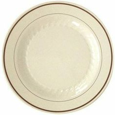 "Waddington North America Masterpiece Disposable 10.25"" Plastic Plates, White, Case of 120 (05-0450) Category: Plastic Plates by Waddington North America. $120.44. Item #: 05-0450. The look of upscale dinnerware with the convenience of disposable plastic. Golden accents with delicate fluting enhance food preparation. Provides a solution to the costly and labor-intensive concerns of china, including breakage, transportation and clean-up. Customers also search for: Fo..."