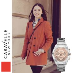 Rosie is wearing our Silver-Tone 45L143, coming to stores this spring! #Caravelle #Silver #LFW #StreetStyle #Watch #Watches