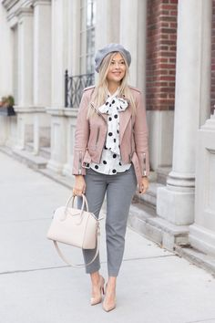 Jan 2020 - grey pants, a white and black pola dot blouse, a pink leather jacket, a grey beret, nude heels and a white bag Grey Pants Outfit, Blush Outfit, Leather Jacket Outfits, Light Jeans Outfit, Pink Outfits, Casual Outfits, Pink Top Outfit, Winter Outfits, Polka Dot Outfit