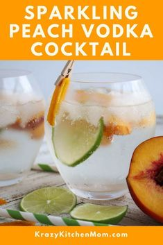 Keep summertime alive with a refreshing and low-calorie Sparkling Peach Vodka Cocktail. Sparkling Peach Vodka Cocktail made with peach flavored vodka, sparkline seltzer water with fresh peach and lime slices. Delicious and refreshing! Peach Vodka Drinks, Cocktails Vodka, Flavored Vodka Drinks, Beste Cocktails, Vodka Recipes, Summer Cocktails, Cocktail Drinks, Cocktail Recipes, Margarita Recipes