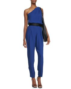 One-Shoulder+Jumpsuit+by+Halston+Heritage+at+Neiman+Marcus.