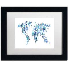 Trademark Fine Art 'Robot Map of the World Blue' Canvas Art by Michael Tompsett, White Matte, Black Frame, Blue
