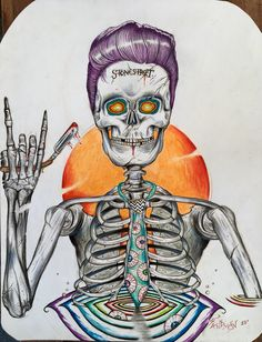 """""""Dying for a Haircut"""", skeleton design for t-shirt. By Socrates Sandman."""