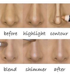 Before and after: highlight, contour, and shimmer