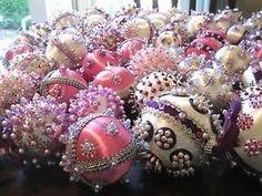 "Victorian Christmas Decorations | 68 ""Victorian"" Christmas Satin Balls Handmade Ornaments Beaded Sequins ... by antonia"