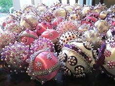 "Victorian Christmas Decorations | 68 ""Victorian"" Christmas Satin Balls Handmade Ornaments Beaded Sequins ... by antonia"