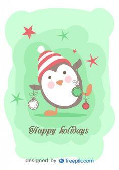 Penguin holding Christmas Ornaments