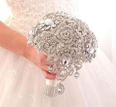 Broach Bouquet, Crystal Bouquet, Wedding Brooch Bouquets, Cascade Bouquet, Crystal Brooch, Bridesmaid Bouquet, Silver Brooch, Bridesmaids, Crystal Ball