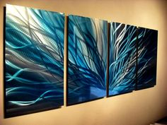 Metal Wall Art Decor Abstract Contemporary Modern Sculpture Hanging Zen Textured- Radiance in Blues