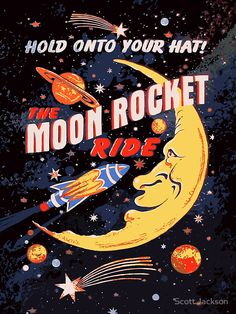 'Rocket Moon Ride (vintage)' Canvas Print by Scott Jackson - Rocket Moon Ride (vintage) by Scott J Bedroom Wall Collage, Photo Wall Collage, Picture Wall, Retro Wallpaper, Aesthetic Iphone Wallpaper, Aesthetic Wallpapers, Vintage Wallpapers, Funny Iphone Wallpaper, Aesthetic Collage
