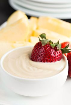 Brown Sugar Vanilla Malted Milkshake Fruit Dip - so rich and creamy! Love that this is made with nonfat Greek yogurt!