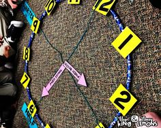 Classroom Clock with a Hula Hoop, Telling Time, Time Anchor Chart Telling Time Activities, Teaching Time, Teaching Math, Math Activities, Teaching Ideas, Anchor Charts First Grade, Math Anchor Charts, Hula Hoop, Math Classroom