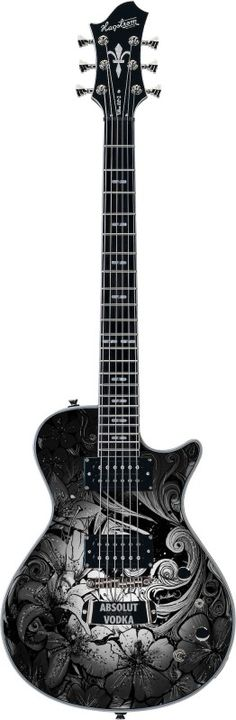 """This unique guitar was specially designed by artist """"Nina Vollmer"""" for Absolut Vodka´s """"Rock Edition"""" campagn."""