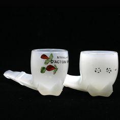 EAPG Clambroth Glass Pipes Souvenir D'acton Vale Antique Art Glass Hand Painted
