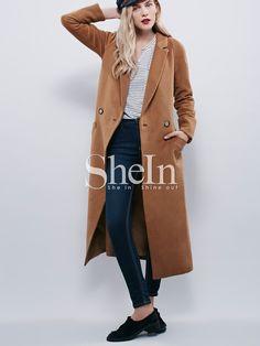 Camel Long Sleeve Lapel Coat 39.99