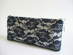 Floral Lace Clutch Retro Wedding Clutch Stormcloud by PersaBags, $25.00