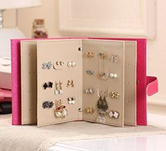 Pink PU Leather Book Style Jewelry Ear Studs Earrings Storage Organizer Box (1pc) #beading #beadingtutorial #tutorial #jewelrymaking #jewelry #handmadejewelry #handmade #diy #diyjewelry #diyjewelrymakingn