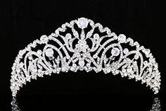 Bridal Pageant Rhinestone CZ Crystal Wedding Prom Tiara Crown T968 -- undefined #Headbands