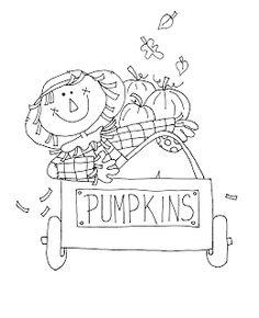 Free Dearie Dolls Digi Stamps Pumpkin Cart Scarecrow