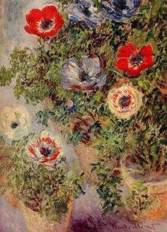 Still-Life with Anemones, 1885, Claude Monet