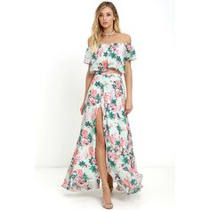 Bloom for Two Mint Floral Print Two-Piece Maxi Dress ($124) ❤ liked on Polyvore featuring dresses, green, long white dress, off the shoulder maxi dress, green maxi dress, long chiffon dress and maxi dress