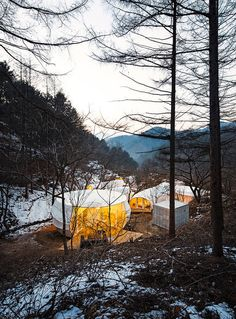 Built by ArchiWorkshop in Yangpyeong-gun, with date Images by June Young Lim. Glamping Architecture by ArchiWorkshop offers a unique camping experience. Two types of Glamping units with contempor.