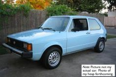 My first car was a 79 VW rabbit in light blue.  It was a manual so I was pretty much a racecar driver from the word go.  16 years old - first car and got a ticket within the first year.