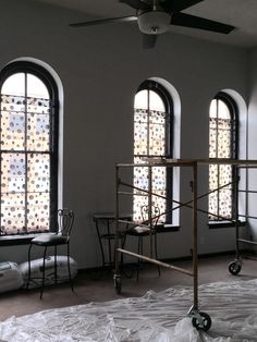 Trying some sheer panels on the front windows...