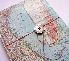 Vintage Map Notebook Or Sketchbook by Bombus