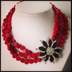 Statement necklace - Red Coral with gorgeous black crystal brooch feature