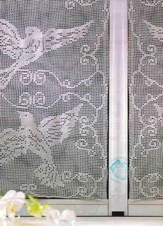 Curtains, filet crochet work with diagrams - start on base chain of 274