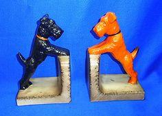 Pair Vintage German Hummel / Goebel Porcelain Terrier Dog Book Ends #^